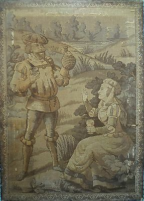 1850 ANTIQUE FRENCH CHATEAU CASTLE AUBUSSON Tapestry Wine Festival 3 Ft by 2 Ft