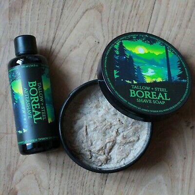 Set Savon et Lotion Après Rasage Tallow and Steel BOREAL NEUF Shaving Soap NEW