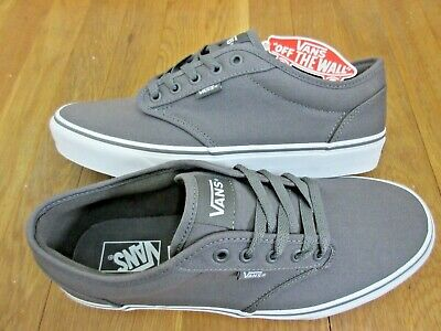 89061bb840f Vans Mens Atwood Canvas Pewter Gray White Skate Boat Casual shoes Size 10.5  NWT