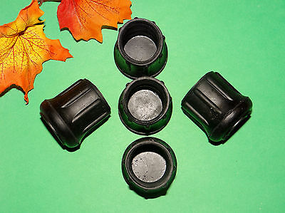 "(5) New 1 1/8""  Black Rubber Cane Tips For Walkers, Crutches, Walking Sticks,"