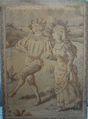 *SALE* 1850 ANTIQUE FRENCH CHATEAU CASTLE AUBUSSON Tapestry VILLAGE DANCE *SALE*