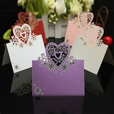 12pcs/pack Love Heart Laser Cut Wedding Party Table Name Place Cards Favor Decor