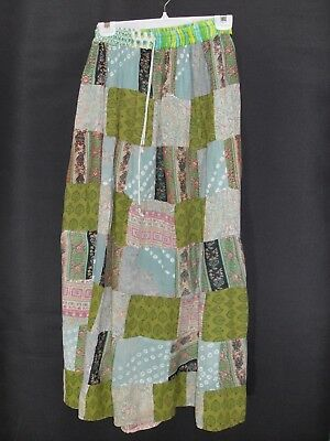 1990's Vintage Hippy Patchwork Maxi Skirt with Elastic Waist.