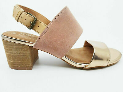 3cfa1629a8ba Toms Womens Poppy Sand Bloom Suede Rose Gold Specchio Heels Sandals Size 6