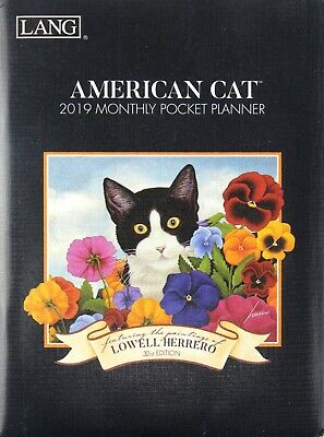 "2019 American Cat Lowell Herrero Monthly Pocket Planner 5"" x 6.5"""