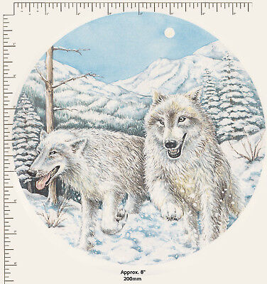 "1 x Large Ceramic decal Decoupage Round Plate White snow wolves Animals 8"" P67"