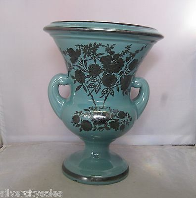 "Royal Haeger Turquoise W/ Sterling Silver Overlay Flowers 9"" Double Handled Vase"