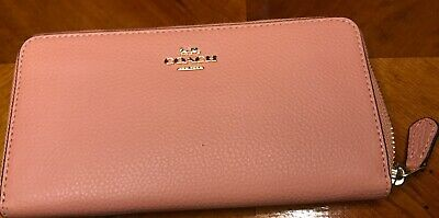 NWT Coach F16612  Pebble Leather Accordion Zip Wallet In Sunrise Color