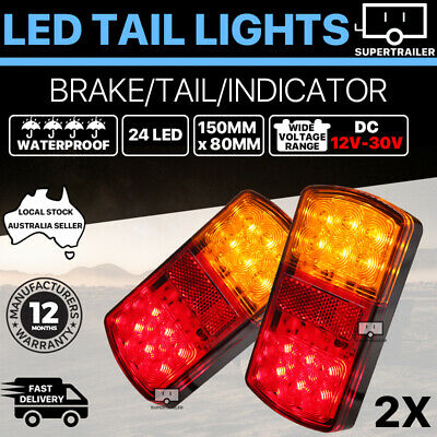 2x Trailer lights 24 LED tail light Truck Camper UTE Caravan rear Stop Indicator