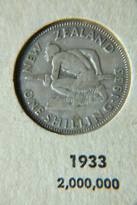 1933 New Zealand Circulated One Shilling Coin.