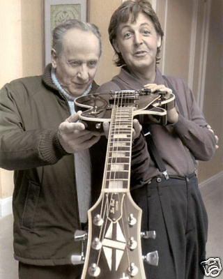 """LES PAUL & PAUL McCARTNEY SINGER SONGWRITERS 8x10"""" HAND COLOR TINTED PHOTOGRAPH"""