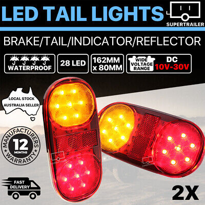 2x Trailer lights 28 LED tail light Truck Camper UTE Caravan 4WD Stop Indicator