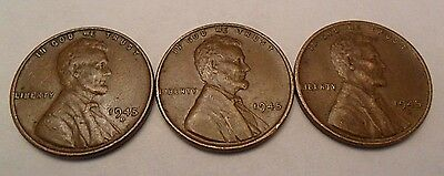 1945 P D S Lincoln Wheat Cent / Penny Coin Set  *FINE OR BETTER* *FREE SHIPPING*