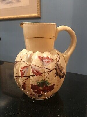 Antique Bristol Glass Hand Painted Enamel Lobed Ribbed Mellon Pitcher Pontil