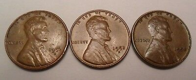 1952 P D S Lincoln Wheat Cent / Penny Coin Set  *FINE OR BETTER* *FREE SHIPPING*