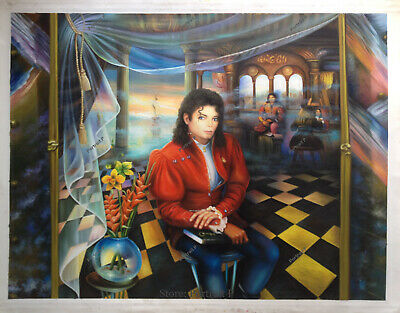 Michael Jackson Oil Painting Portrait The Book Hand-Painted Art on Canvas 30x40
