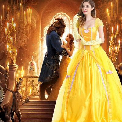 Chic Beauty and The Beast Adult Belle Princess Cosplay Costume Gown Fancy  Dress  8b2f99c386a6