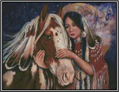 Native American Girl With Horse Point de Croix Kit Complet #21-117