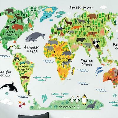 Animals World Map Kids Educational Nursery Wall Art Stickers Decal WallPapers &&