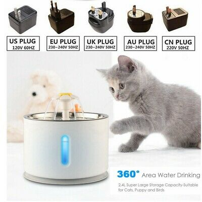 81oz/2.4L Automatic Cat Water Fountain Stainless Steel Pet Drinking Dispenser