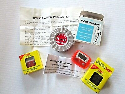 Vintage Pedometers, Walk-A-Matic and Two CITRUCEL Promotional Advertising
