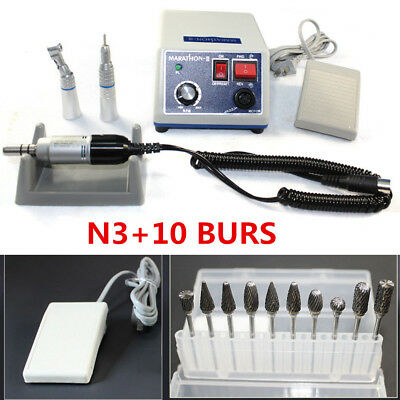 Dental Lab Marathon moteur Polisseur +35K RPM+ E-TYPE Handpiece +10* Drill Bur