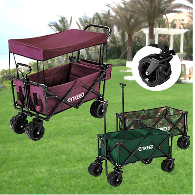 4 Wheel Folding Garden Beach Shopping Wagon Trolley Cart Utility with Canopy NEW