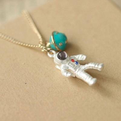 Fashion Astronaut Planet Charm Pendant Necklaces Clavicle Chain Jewelry E
