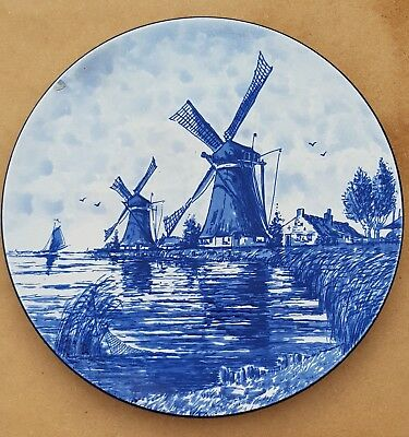 "10"" Delft Blue Plate Wall Charger Windmill Farm Water Boat Dutch scene"