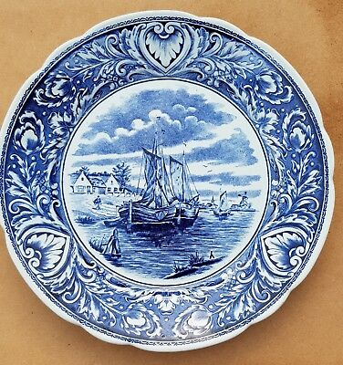 """9.84"""" Vintage Delft Blue Plate Wall Charger Farm Water Boat Dutch scene by Boch"""