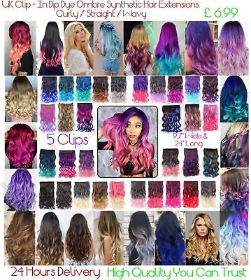 "30+ Ombre Dip Dye 5 Clips Clip - In Synthetic Hair Extensions 24"" Long 9.7"" Wide"