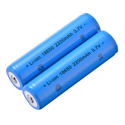 2pcs 18650 Li-ion Rechargeable Battery 2200mAh Safety Blue for Flashlight BC827