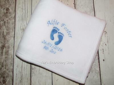 Personalised Baby Blanket Embroidered Name Boy Girl Footprints Baby Shower Gift