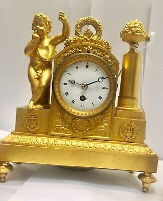 3 Pcs set Fine Antique French Ormulo Cherub Mantel Clock