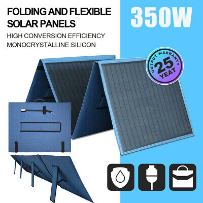 200W 12V Portable Folding Mono Solar Panel Blanket Kit Caravan Camping Boat