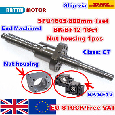 【EU】SFU1605 800mm Ballscrew C7 End Machined &Nut+ BK/BF12 Support + Nut housing