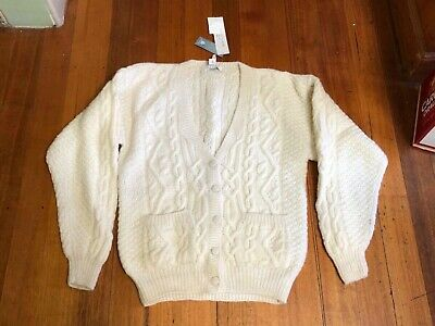 Awesome Vintage Hand Knit 100% Pure Wool Size Medium Cable Knit Cardigan