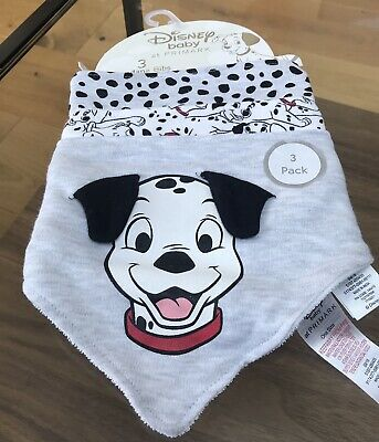 Brand New With Tags Primark Disney 101 Dalmatians Baby Bandanna Bibs 3 Pack
