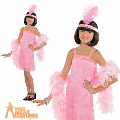 Girls Pink 1920s Charleston Flapper Costume Gatsby 20s Kids Fancy Dress Outfit