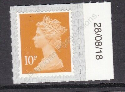 GB MNH MACHIN DEFINITIVE SG U2923 10p ORANGE DATE TAB M18L 28/08/18 SPB2i PB-sL
