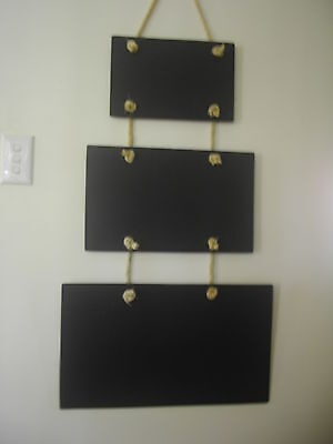 3 Piece Rope Hanging Chalkboard Blackboard Set Home Restaurant Cafe Coffee Shop