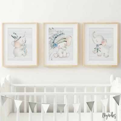 Baby Boy Elephant Nursery Prints, set of 3, Boho Tribal Elephant Prints. Decor