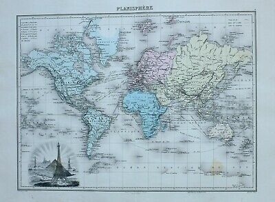 1890 Hand Coloured Map The World Steamer Routes Africa Europe Oceania Eiffel
