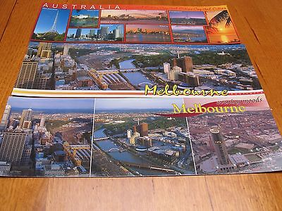 Three large Melbourne Australia SUPER VIEWS Postcards - mint unused