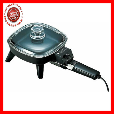 Electric Skillet with Glass Lid Small Compact Size Non Stick Cooker Fry Pan 6""