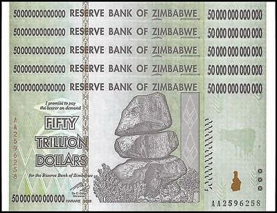 3 Pcs x Zimbabwe 50 Trillion Dollars, Uncirculated 2008AA AUTHENTIC NOTE