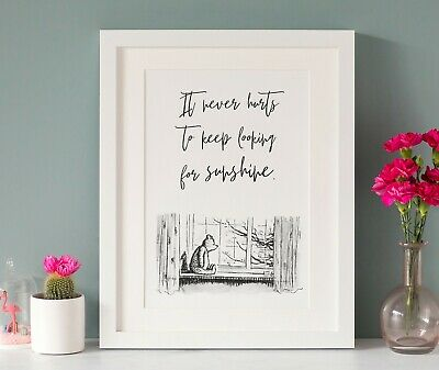 Winnie the Pooh Quote Print, A4, Black & White Monotone, Unframed, Picture, Gift