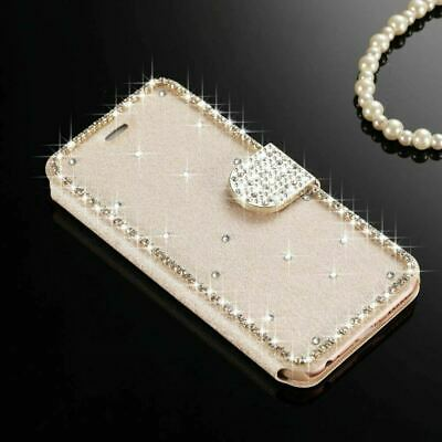 For iPhone 5 5S SE Case Bling Crystal Diamond Flip Wallet Glitter Leather Cover