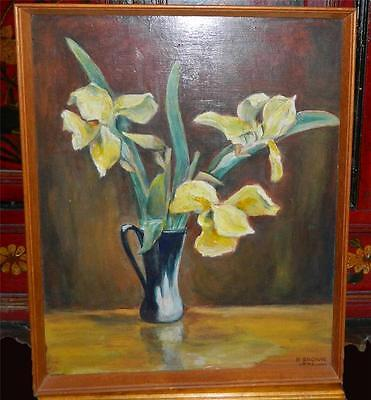 VINTAGE Still Life flowers in a Vase Painting Signed by Artist N. Brown 1971