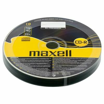 10 x Maxell CD-R Blank Discs Recordable 700MB 52x Speed 80 Mins Extra Protection